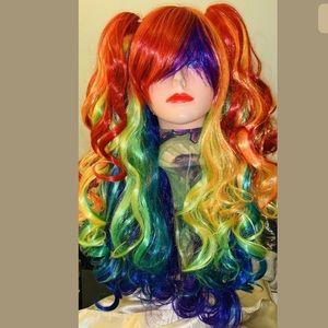 3-piece Synthetic Rainbow Wig